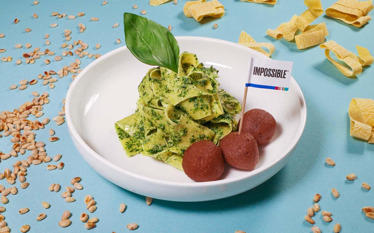Impossible Meat Ball Pesto Pasta